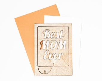 Best Mom Ever Wood Greeting Card, New Mom Gift, Mothers Day Gift, Mothers Day Greeting Card, Wood Pop Up Card, 40th Birthday Card