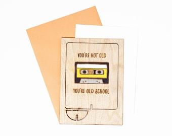 Old School Wood Birthday Card, 30th Birthday Card, 40th Birthday Card, 60 Birthday Card, 80th Birthday Card, Wood Pop Up Card
