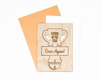 Father of the Year Wood Greeting Card, Fathers Day Wood Pop Up Card, Fathers Day Card, Wood Greeting Cards for Dads, Fathers Day Gift