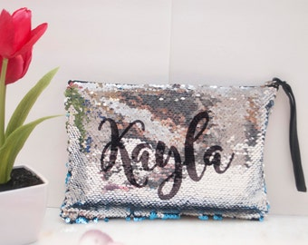 Personalized Two-Tone Magic Sequin Makeup Clutch Bag