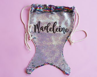 Personalized Sequin Mermaid Tail Backpack