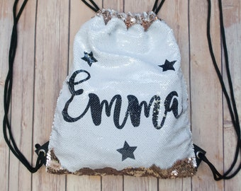 Personalized Sequin Stars Drawstring Backpack