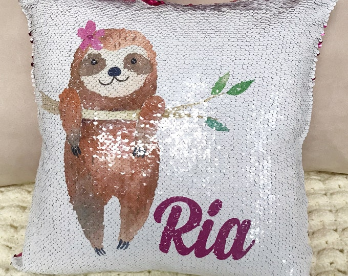 Personalized Sloth Two-Tone Magic Sequin Pillowcase