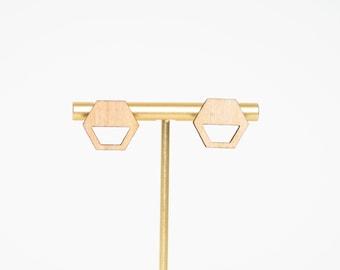 Hollow Hexagon Wood Earring, Geometric Wood Earrings, Hexagon Shaped Earring