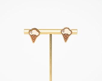 Ice Cream Wood Stud Earrings, Ice Cream Earrings, Fun Stud Earrings, Wood Earrings
