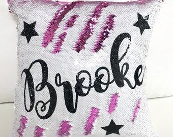 Personalized Stars Two-Tone Magic Sequin Pillowcase