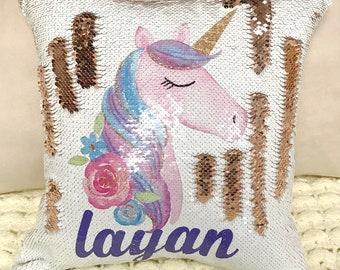 Personalized Unicorn Two-Tone Magic Sequin Pillowcase