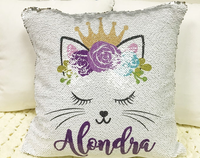 Personalized Cat Two-Tone Magic Sequin Pillowcase