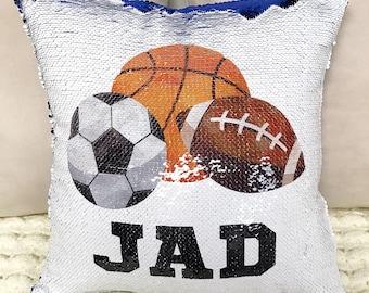 Personalized Sports Two-Tone Magic Sequin Pillowcase