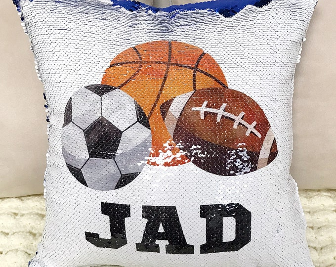 Personalized Sports Two-Tone Magic Sequin Pillowcase