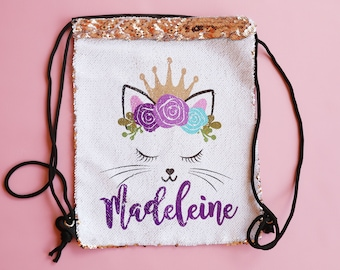 Personalized Sequin Cat Drawstring Backpack