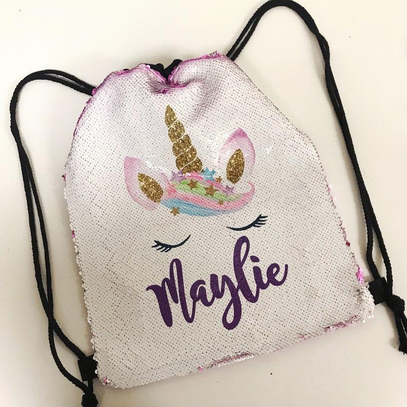988a22db9e0b Personalized Unicorn Sequin Drawstring Backpack, Watercolor Unicorn Custom  Two-Tone Mermaid School Bag, Kids Backpack, gifts for kids