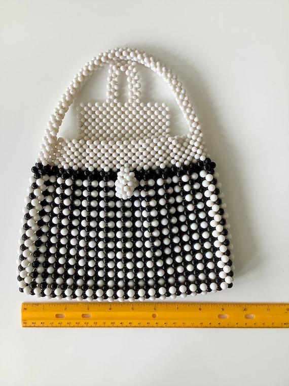 Black & White 1960s Fab Beaded Bag - image 8