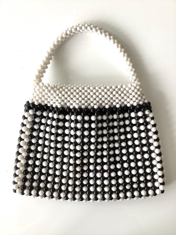 Black & White 1960s Fab Beaded Bag - image 3