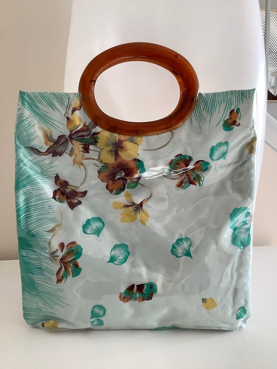 JR Florida Vinyl & Lucite Handle Floral Bag