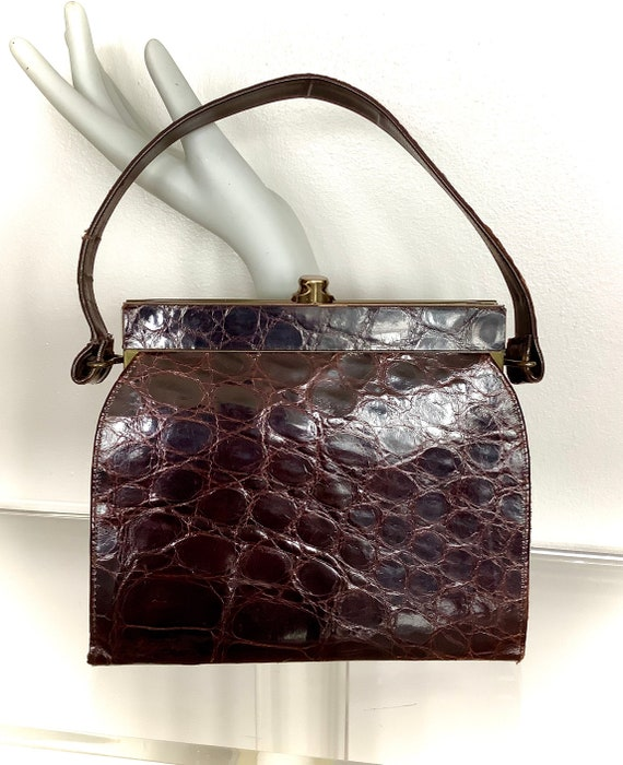 Vintage Midcentury Red Brown Alligator Leather Vas