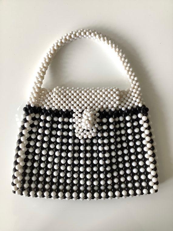 Black & White 1960s Fab Beaded Bag - image 2