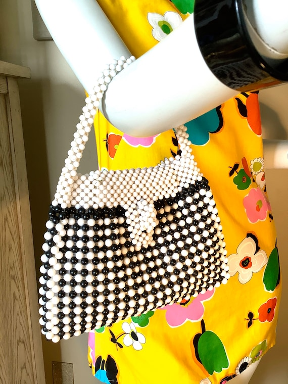 Black & White 1960s Fab Beaded Bag - image 1