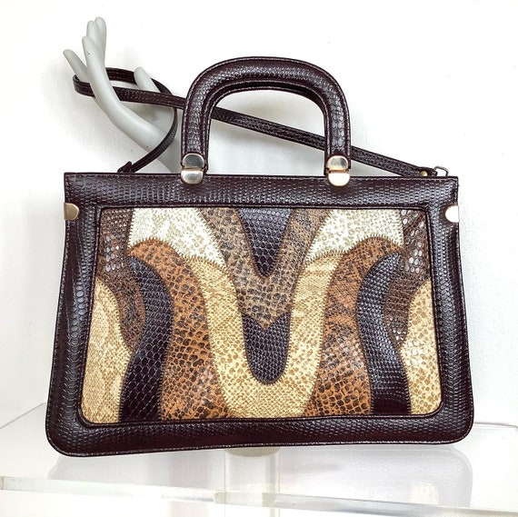 Vintage 1970s Briefcase Bag in Faux Snake Reptile