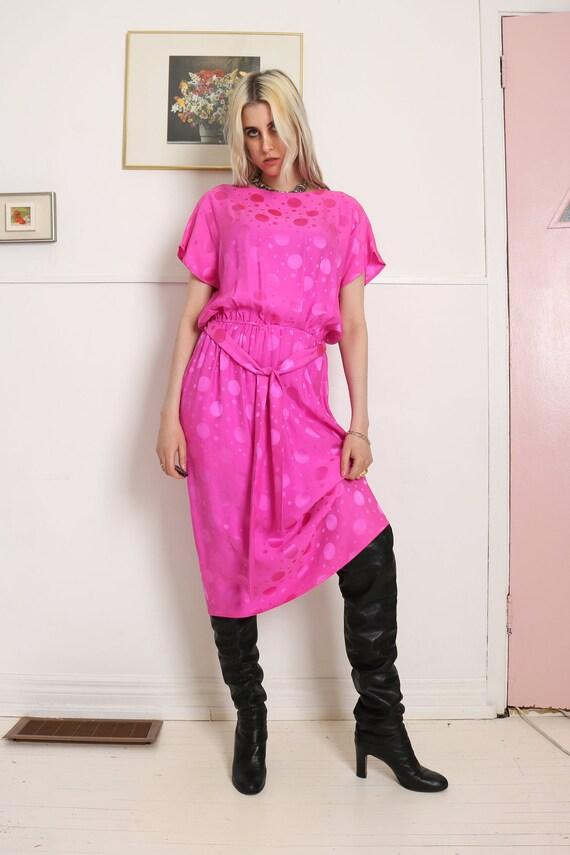 1980S pink silk polka dot dress