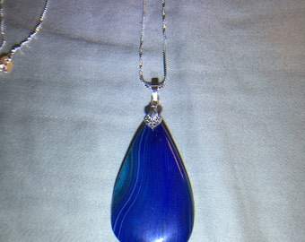 Brilliant Blue Madgascar Agate 925 Necklace