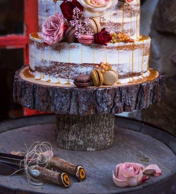 Rustikale Etagere Hochzeitstorte Stand Holzscheibe Stand Etsy