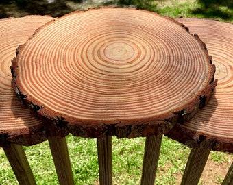 Set of 10 - 10 inch wood slices! Wedding table decor, Wood centerpieces, wood chargers, wood slab centerpieces, rustic wedding decor