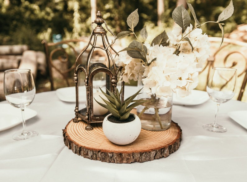 Set of 10  12 inch wood slices wedding centerpieces wood image 0
