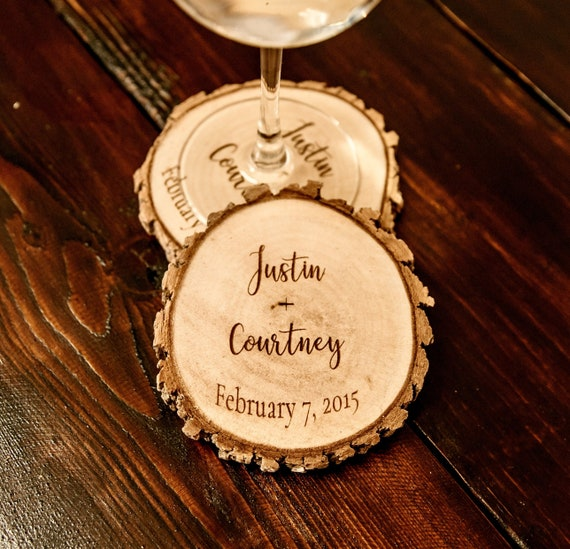 Rustique des faveurs de mariage Coaster, personnalisé sous-verres mariage, sous-verres personnalisés mariage, sous-verres rustiques pour le mariage!