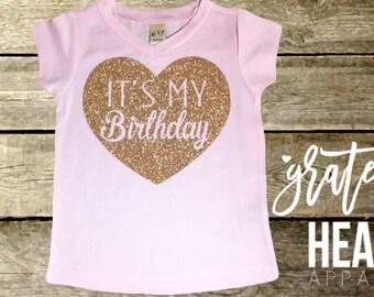 It's my Birthday, Birthday shirt, Toddler birthday outfit, Girl birthday shirt, Birthday girl shirt, Glitter birthday shirt