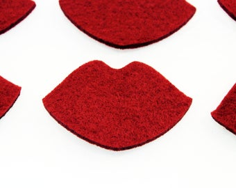 Felt crafts wool felt Felt Lips for craft and embellishment  perfect shape thick red lips for use any crafting projects red felt 25 pieces