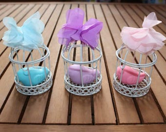 Baby shower favors soap baby boy baby girl newborn gift metal bird cage soap gift ideas Bridal shower favors wedding gift baptism favor 20PC