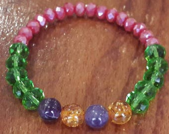 Baltic Amber & Amethyst bracelet natural stone  christmas gifts noel gifts Beads bracelet pink green crystal beads jewelry Natural stone 8mm