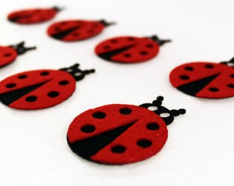 Felt ladybug Felt Ladybirds wool felt  felt crafts and embellishment perfect shape for use any crafting  felt animal Felt Insects 10PC