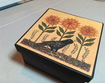 Crow and sunflower paper mache storage gift box