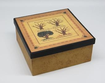 """Decorative Paper Mache 7"""" Square """"Friendship"""" Box"""