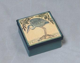 Little Blue Heron Paper Mache Storage Gift Box