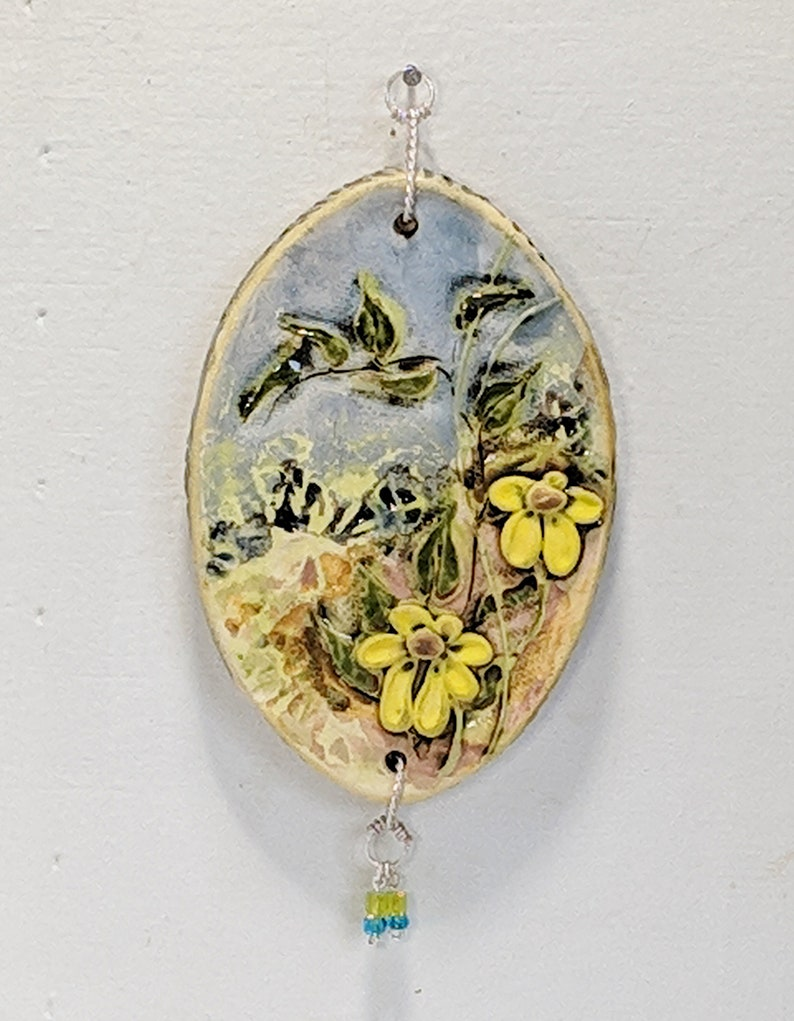Each Sold Separately Miniature Art Daisy Floral Wall Hanging Nature Blue Yellow Green