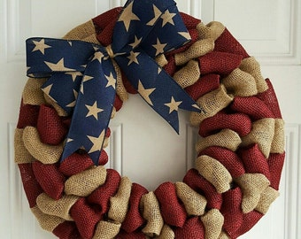 Patriotic burlap wreath for front door, fourth of july wreath, Americana wreath, housewarming gifts