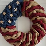 Patriotic wreath, patriotic burlap wreath, flag wreath, primitive wreath, farmhouse wreath, military wreath, farmhouse decor, all seasons