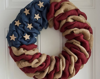 Patriotic wreath, patriotic burlap wreath, flag wreath, primitive wreath, farmhouse wreath, military wreath, farmhouse decor