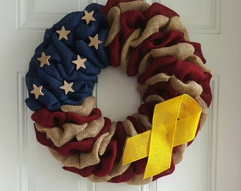 Military Wreath Support Our Troops Patriotic Burlap Yellow Awareness Ribbon For Deployment Gifts Veterans Day