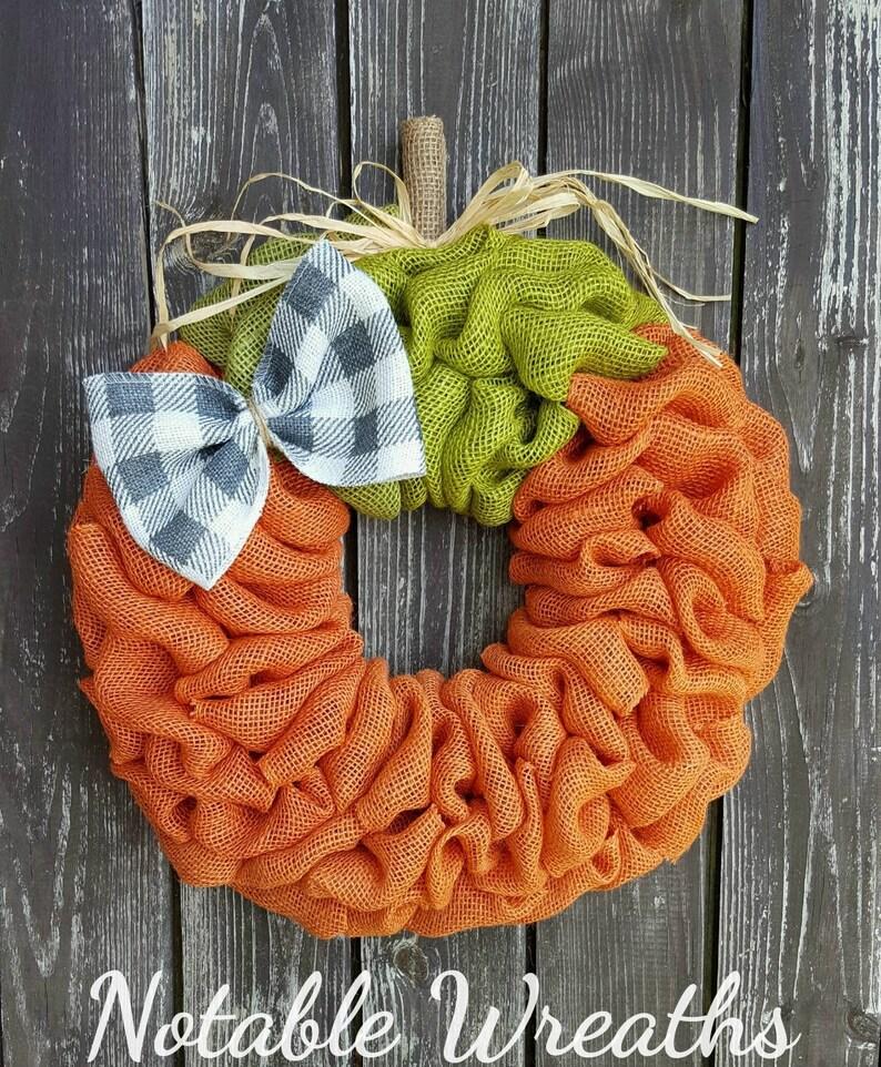 Pumpkin wreath burlap wreath Fall wreath Autumn wreath Fall decor plaid check Fall wreath for front door Halloween wreath