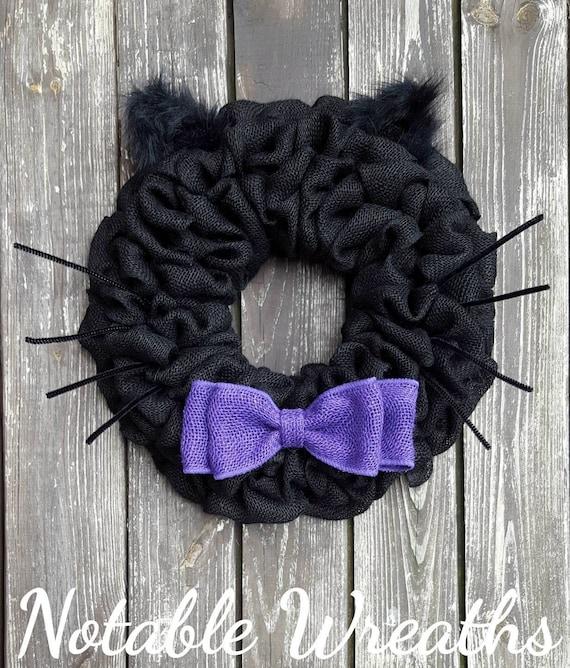Halloween wreath black cat wreath burlap halloween wreath