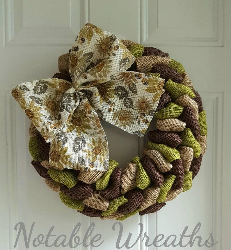 green wreath Fall wreath rustic wreath Thanksgiving wreath burlap wreath brown wreath Fall wreath for front door