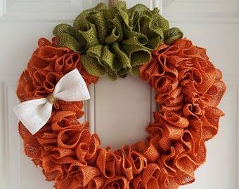 Pumpkin wreath burlap wreath fall wreath autumn wreath Halloween wreath Thanksgiving wreath burlap pumpkin wreath