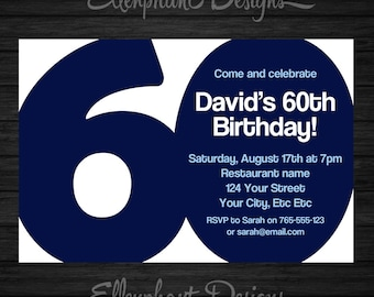 60th Birthday Invitation 60 Adult Sixty Also Suit 30th 40th 50th 70th Blue Men Man Male Custom Invite Digital File You Print
