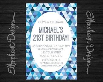 Blue Birthday Invitation, teen, 21st, 30th, 40th, geometric pattern, adult, men, male, printable, custom invite, digital file, you print