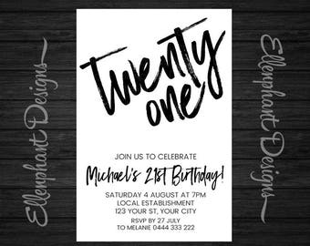 21st invitations etsy 21st birthday invitation twenty one twenty first adult men male black white custom invite digital file you print filmwisefo