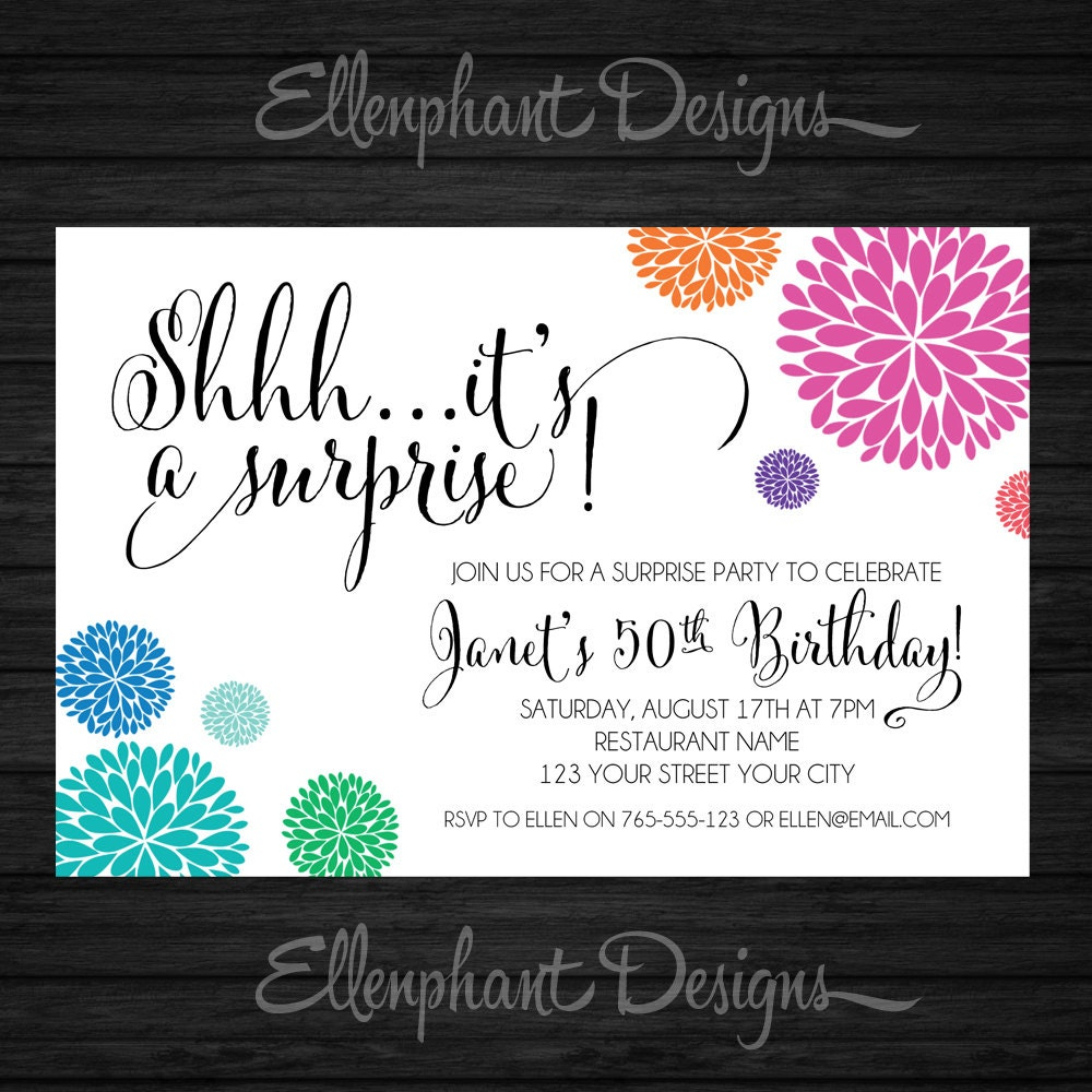 Surprise Birthday Invitation Colorful Colourful 21st 30th